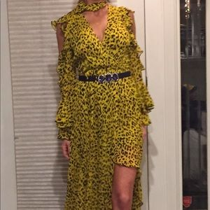Ruffel sleeve high low maxi dress